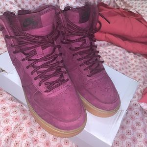 PURPLE SUEDE  NIKE AIR FORCE  1s HIGH  TOPS
